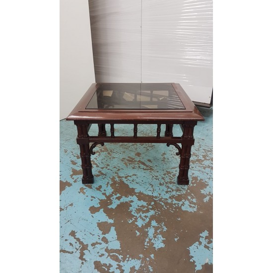 Chinese-style Glass-top Coffee Table (90% NEW)